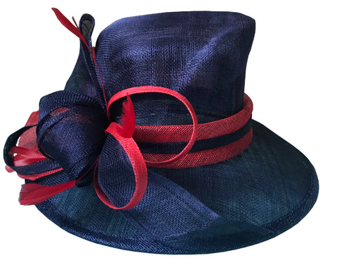 Red and Navy Sinamay Hat