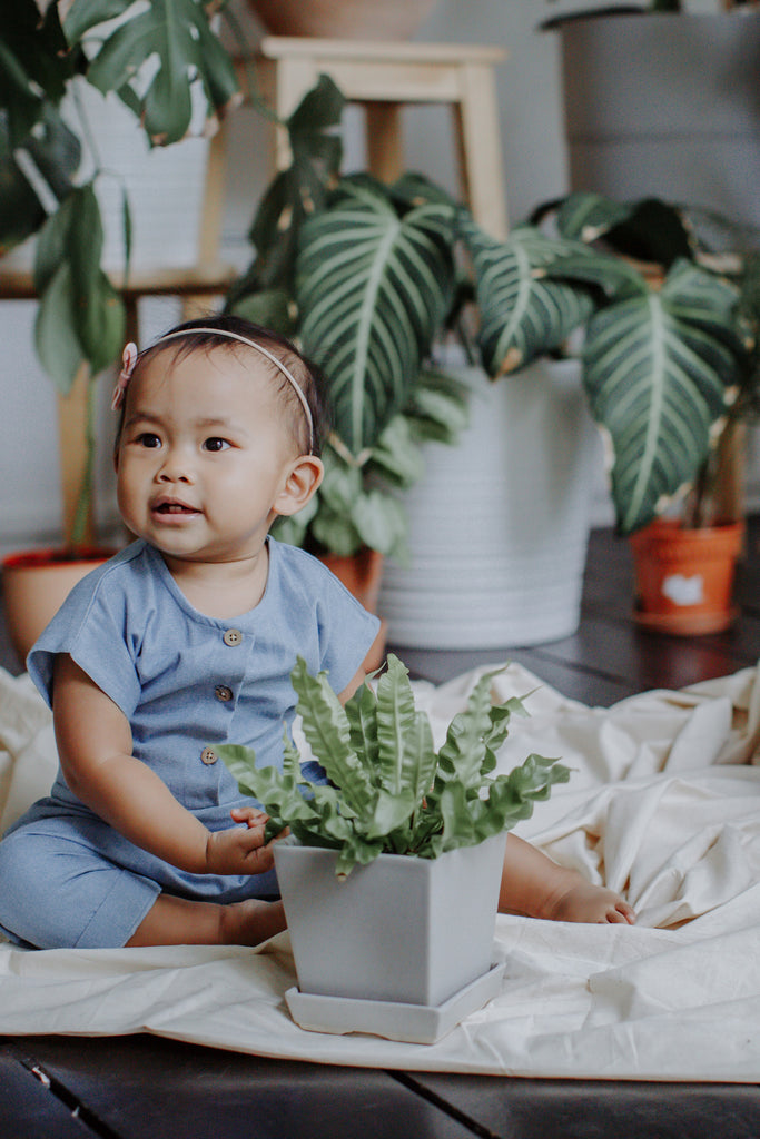 Denim Romper | Light Blue