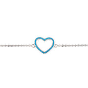 Blue Heart Sterling Silver Bracelet in Silver
