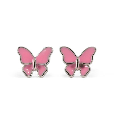 Rose Butterfly Sterling Silver Earrings