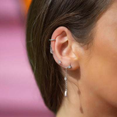 Ruslana Ear Cuff Chain Stud Earrings in Silver
