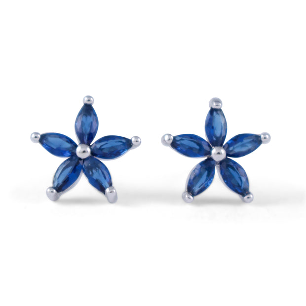 Blue Flower Sterling Silver Earrings