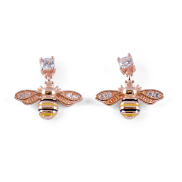 Gold Bee Sterling Silver Stud Earrings
