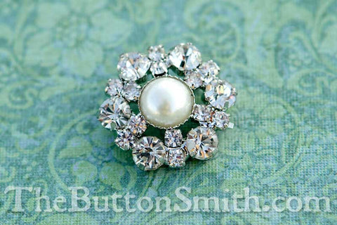 GENEVIEVE — Rhinestone & Pearl Buttons 22mm RS-014