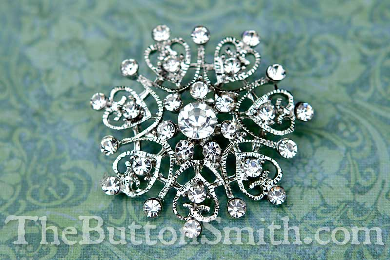 Rhinestone button 40mm nickel plating with clear crystal rhinestones