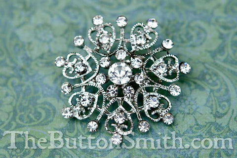 CHRISTINE — Rhinestone Button 40mm RS-054