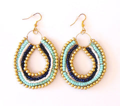 Tribal Beaded Earring Aqua Multi