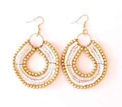 Tribal Beaded Earring White
