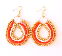 Tribal Beaded Earring Orange
