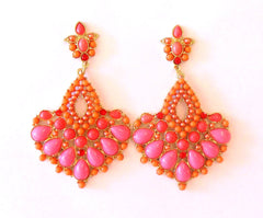 Chandelier Earrings Lipstick Pink