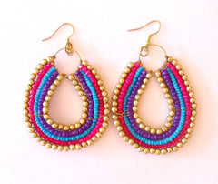Tribal Beaded Earring Fuchsia Multi