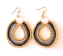 Tribal Beaded Earring Black Multi