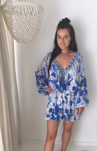 Camilla The Fan Sea Blouson Sleeve Playsuit
