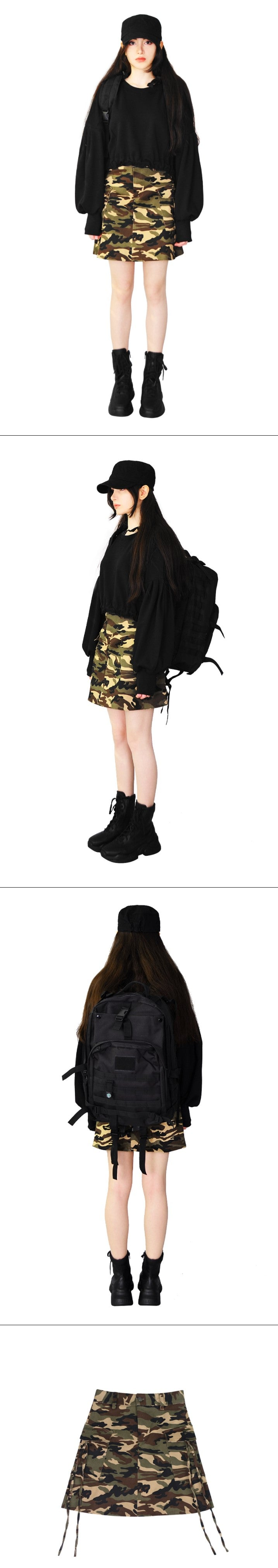 Military camouflage strap A-line mini skirt (beige)