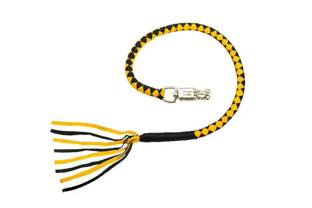Styles Wear - Motorcycle Get Back Scooter Fringed Whips Yellow Black Leather