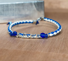 Adjustable leather bracelet blue and white band