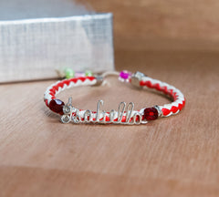 Adjustable leather bracelet red and white band
