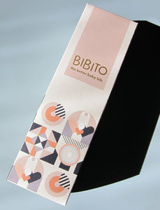 bibito silicone bib packaging on blue background