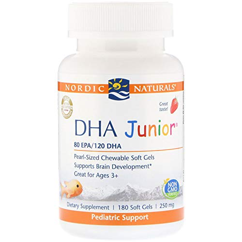 Nordic Naturals Pro DHA Junior - Wild Arctic Cod Liver Oil, 80 mg EPA, 120 mg DHA, Support for Healthy Neurological, Nervous System, Eye, and Immune System Development*, 180 Chewable Soft Gels
