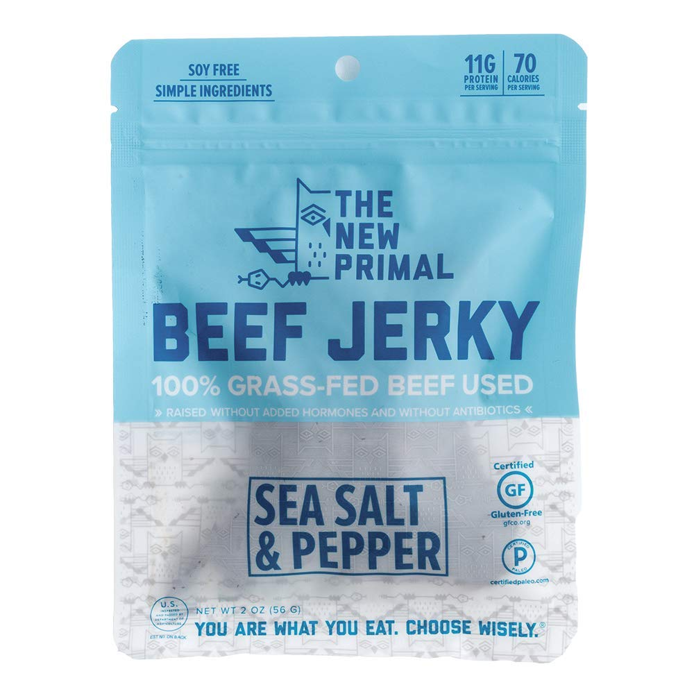 The New Primal Sea Salt & Pepper Beef Jerky, Paleo, Gluten & Soy Free, 100% Grass-Fed, Keto, No Added Sugar, 2 Ounce, Pack of 8