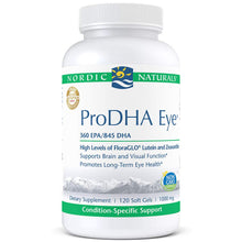 Load image into Gallery viewer, Nordic Naturals ProDHA Eye - Fish Oil, 360 mg EPA, 845 mg DHA, 20 mg FloraGLO Lutein, 4 mg Zeaxanthin, Support for Neurological Function and Long-Term Eye Health*, 120 Soft Gels