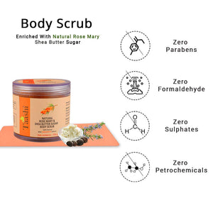 Taashi Natural Rosemary & Shea Butter Sugar Body Scrub - 100 g, 100% Natural Scrub, Exfoliator, Moisturizer, Removes Dead Skin, Nourishes Skin, For Oily Skin, Sensitive Skin, Dry Skin, For Women & Men