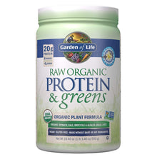 Load image into Gallery viewer, Garden of Life Greens and Protein Powder - Organic Raw Protein and Greens with Probiotics/Enzymes, Vegan, Gluten-Free, Vanilla,19.40 (1 lb 3.40oz/550g) Powder,Package may vary