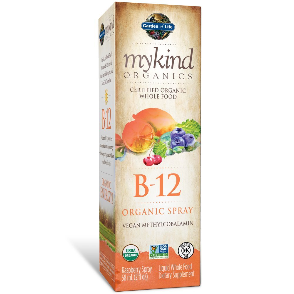 Garden of Life B12 Vitamin - mykind Organic Whole Food B-12 for Metabolism and Energy, Raspberry, 2oz Liquid