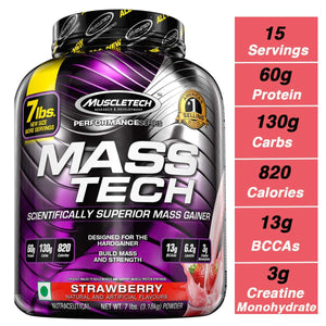 MuscleTech Mass Tech Mass Gainer Protein Powder, Strawberry, 7lbs (3.2kg)