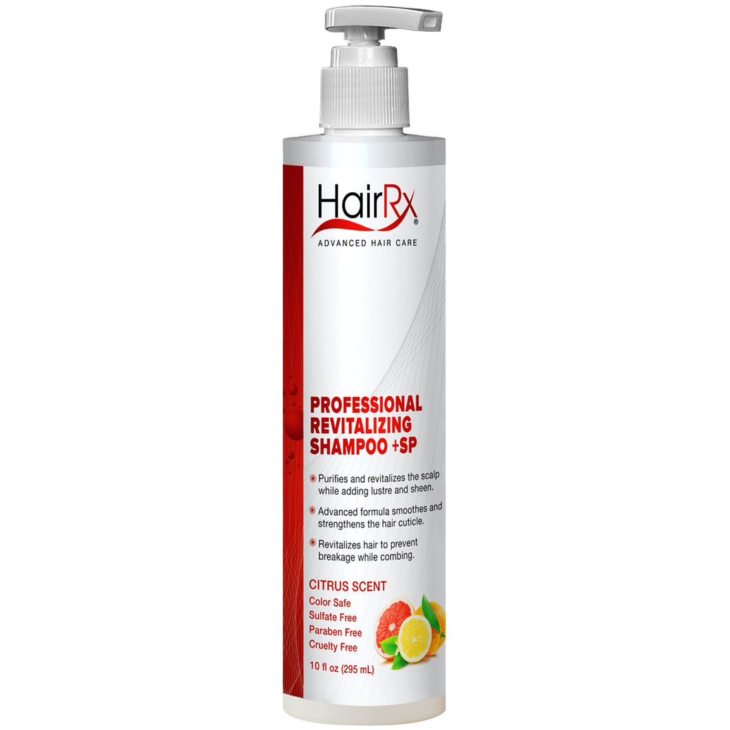 HairRx Professional Revitalizing Shampoo +SP (for Oily Scalps) with Pump, Luxurious Lather, Citrus Scent, 10 Ounce