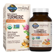 Load image into Gallery viewer, Garden of Life mykind Organics Extra Strength Turmeric Inflammatory Response 120 Tablets-100mg Curcumin (95% Curcuminoids) Black Pepper, Probiotics, Organic Non-GMO Vegan Gluten Free Herbal Supplemen