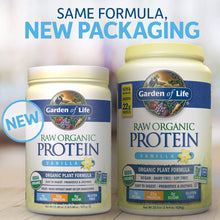 Load image into Gallery viewer, Garden of Life Raw Organic Protein Vanilla Powder, 20 Servings *Packaging May Vary* Certified Vegan, Gluten Free, Organic, Non-GMO, Plant Based Sugar Free Protein Shake with Probiotics & Enzymes