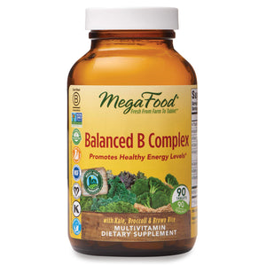 MegaFood, Balanced B Complex, Promotes Healthy Energy Levels, Multivitamin Dietary Supplement, Gluten Free, Vegan, 90 Tablets (90 Servings) (FFP)