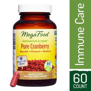 MegaFood - Pure Cranberry, Farm-Fresh Support for Urinary Tract Health and Immune Defenses, Vegan, Gluten-Free, Non-GMO, 60 Capsules (FFP)