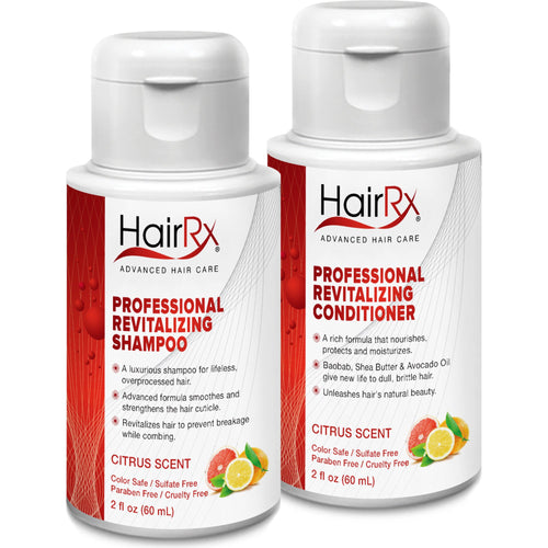 HairRx Professional Revitalizing Shampoo & Conditioner Travel Set, Light Lather, Citrus Scent, 2 Ounce Bottles