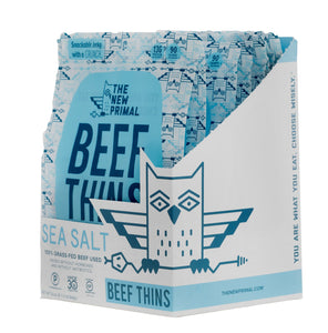 The New Primal Sea Salt Beef Thins - Whole30 Approved, Paleo, Gluten & Soy Free, 100% Grass-Fed, AIP, No Added Sugar, 1oz., Pack of 8