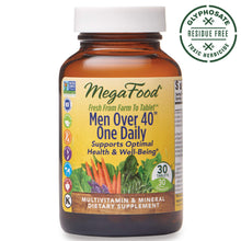Load image into Gallery viewer, MegaFood, Men Over 40 One Daily, Daily Multivitamin and Mineral Dietary Supplement with Vitamins B, D and Zinc, Non-GMO, Vegetarian, 90 Tablets (90 Servings) (FFP)