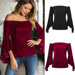 Off The Shoulder Blouse Long Sleeve Casual Tops