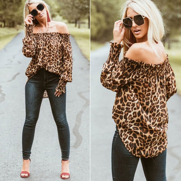 Leopard Print  Off Shoulder Casual Long Sleeve Blouse