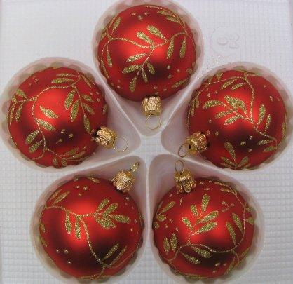 60mm Red Decorated Balls (x5)