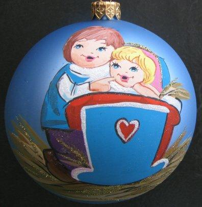 100mm Baby's First Christmas Blue Hand Painted