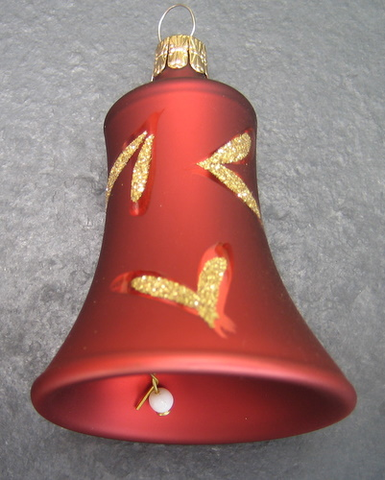 55mm Red Decorated Glass Bells