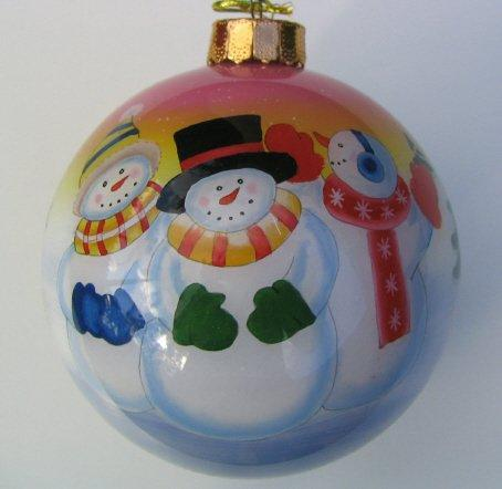 100mm Painted From Inside Glass Ball 3 Snowmen