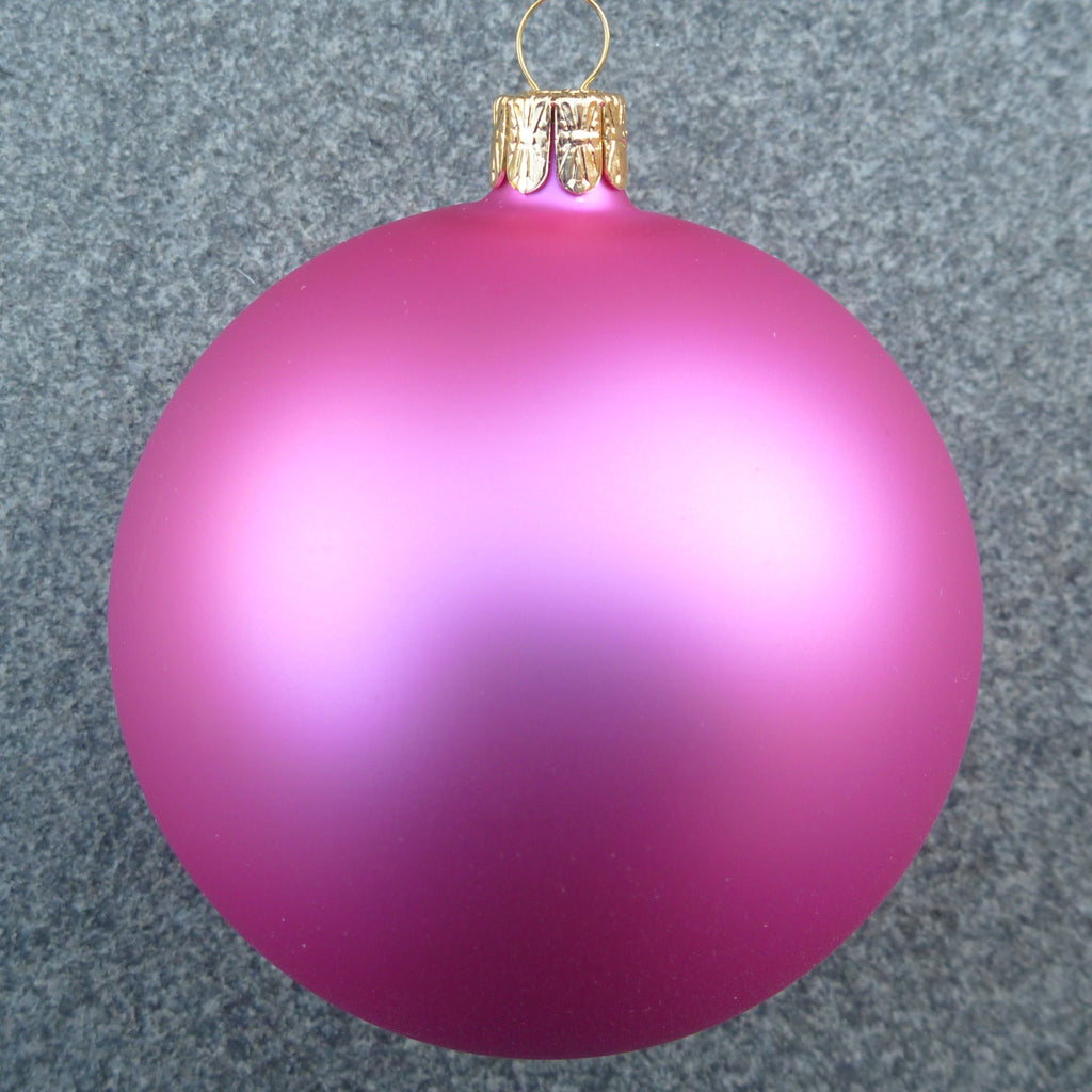 Hot pink christmas decorations - 80mm Glass Hot Pink Mat In Display Box X1