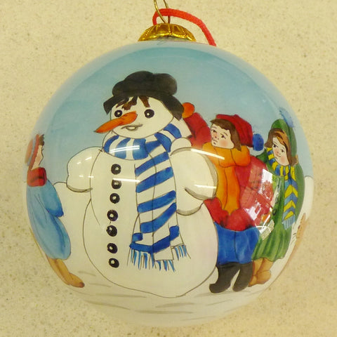 75mm Painted From Inside Glass Children and Snowman