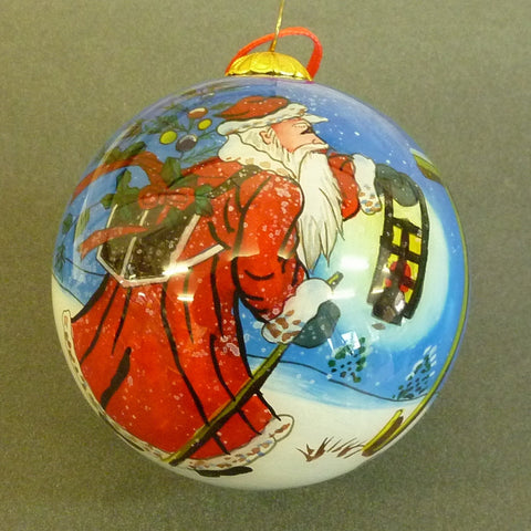 75mm Painted From Inside Glass  Santa with latern