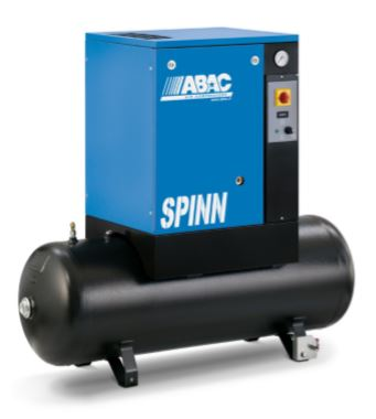 ABAC SPINN 4kW 10Bar 7.5HP 200Ltr Compressor, Receiver Mounted