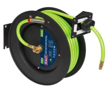 SA841HV Sealey Retractable Air Hose Metal Reel 15m Ø10mm ID High Visibility TPR Hose