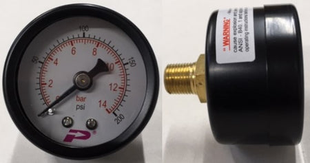 PRESSURE GAUGES 40MM, 50MM, 0-200PSI (0-14BAR) 1/8 & 1/4 BSP THREAD BACK & BOTTOM ENTRY