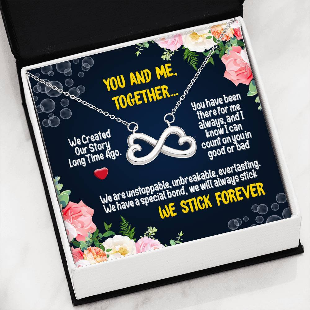 ShineOn Fulfillment Jewelry 14k White Gold Finish Always Stick Forever Infinity Necklace